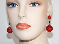 AWESOME GOLD WITH RED RUBY RHINESTONE DROP BALL PROM EARRINGS