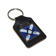 Leather Key Ring Scots Saltire Flag Masonic FOB CHAIN BAG CHARM BIRTHDAY PRESENT