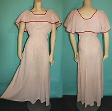 Vintage 30s 40s WHITE Cotton dainty RED Dotted Gown DRESS xs/s