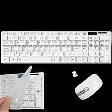 Slim White Wireless Keyboard and Cordless Optical Mouse Set for PC Laptop Win7 8