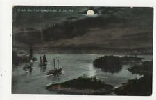 St John River From Railway Bridge St John Canada Vintage Moonlight Postcard 168a