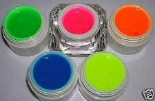 5 x 5ml Neon Farbgele Pink,Grün,Orange,Gelb,Blau Gelset UV Gel 5x Neongel