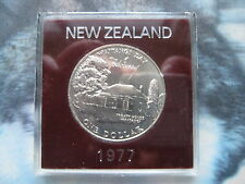New Zealand 1977 UNC 1$ Dollar coin Queen's Coronation Waitangi Day plastic case