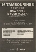 10/3/90Pgn50 Advert: 16 Tambourines Single how Green Is Your Valley? 7x5