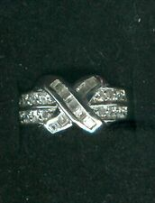 """Diamonart CZ Bypass """"X"""" Ring w/Baguettes & Rounds; 925 Sterling Silver, Sz 7-3/4"""