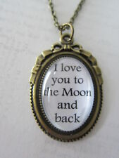 "Bronze ""I Love You To The Moon And Back"" Glass Necklace New in Gift Bag Wife"