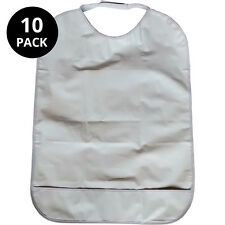 10x Adult dribble bibs with pocket (white)