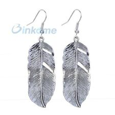 Exquisite Hollow Feather 925 Silver Plated Hoop Earrings Dangle Jewelry Gift