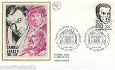 1985**ENVELOPPE SOIE**FDC 1°JOUR!!**CHARLES DULLIN-THEATRE**TIMBRE Y/T 2390