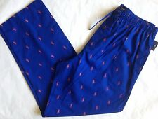 NWT Mens POLO Ralph Lauren Blue w/Orange Pony Logo Pajama Lounge Pants L 36-38