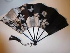 Antique 1800's Black Mourning Hand Fan with Hand Painted Flowers & Tassle