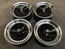 "15"" DEEP DISH RETRO ALLOY WHEELS 4X100 VW GOLF MK1 MK2 LUPO CADDY BLACK POLISHED"