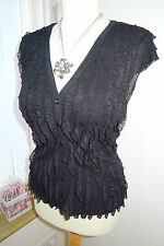 New! Pretty & Feminine Phase Eight Black Button Frill Blouse Top – UK Size 12