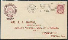 1903 Sun Life Cover, 2c Numeral Perfin, Montreal to Jamaica, Receiver