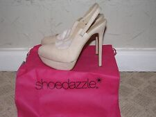 ShoeDazzle Gigli Slingback Heels Pumps Natural Women's Size 7.5 NEW!