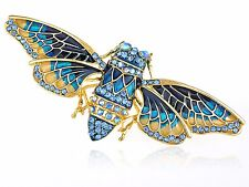 Indigo Blue Painted Enamel Crystal Rhinestone Cicada Moth Insect Bug Pin Brooch