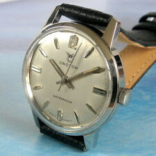 Mens MINT Original Croton Nivada Grenchen 17 Jewel Swiss Stainless Steel Watch