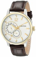 Nautica Men's N16648G NCT 15 Gold Tone White Dial Watch Brown Leather Strap Date