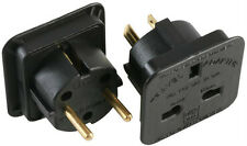 UK AC 3 Pin Plug To USA Canada & Euro Schuko 2 Pin Dual Travel Adaptor Kit,Black
