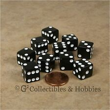 NEW Set of 10 Black 12mm D6 Six Sided RPG Game Dice D&D