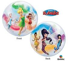 """Disney Fairies Bubbles Large 22"""" Balloons Qualatex Helium Set of 2 Party Pack"""