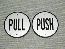 """PUSH and PULL 3.5"""" Round Door Signs Silver and Black"""