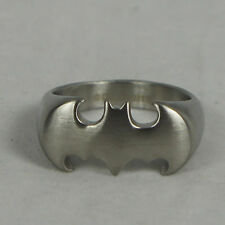 Authentic DC COMICS BATMAN Stainless Steel Silver Matte Logo Ring Size 13 NEW