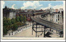 New York City USA postcard 1928 elevated railroad curve at 110th street used