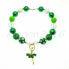 Green dance girl Chunky Beads Bubblegum Gumball Jewlery Necklace For Kids Gift