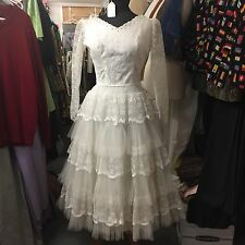 Vintage 1950s White Lace Wedding Dress Ballerina Length Gorgeous Skirt Scoop EUC