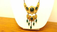 Antique Vintage Art Deco Egyptian Revival Bib Green Glass Necklace