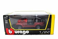 BBURAGO 2003 JEEP WRANGLER CJ-7 RED 1/24 DIECAST CAR 22033RD