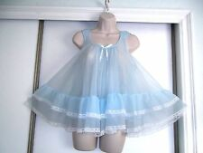 NWOT VINTAGE TOSCA BLUE CHIFFON BABY DOLL NIGHTGOWN~RUFFLES~LACE~SMALL