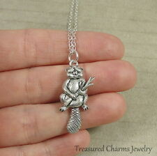 Silver Beaver Charm Necklace - Rodent Otter Critter Pendant Jewelry NEW