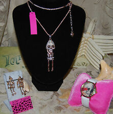 BETSEY JOHNSON 3 PC SET CRYSTAL SKELETON NECKLACE MATCH EARRINGS & SKULL WATCH