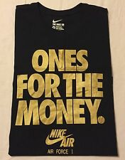 "NIKE AIR FORCE 1 ""ONES FOR THE MONEY"" T SHIRT - Men's 2XL / XXL (black/gold) NWT"