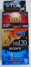 Lot of 3 Sealed 120 minutes 8mm Video Cassette Camcorder Tapes Sony & TDK