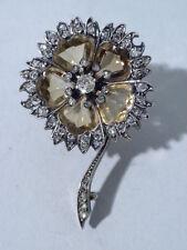 Antique Pin - Flower Brooch - French 18 Kt Gold, Citrine & Diamond - C 1880