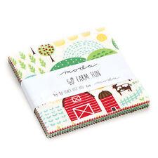 "FARM FUN Charm Pack Precut 5"" Squares Children's Quilting Fabric 100% Cotton"