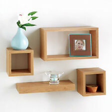 Set of 4 Rectangle Floating Wall Storage Display Unit Cubes Shelves