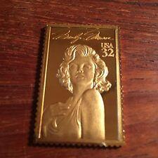 Marilyn Monroe Hollywood Legends USPS Vintage Gold Plated 999 Silver Bar