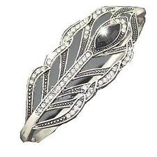 """,Unique Marcasite Art Deco """"Hand Bracelet"""" Bangle of a Peacock Feather"""