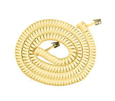 25'FT Telephone Extension Coil Cord Ivory Phone Cable Handset Line W/ Connectors