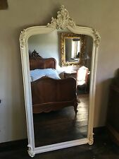 LARGE IVORY CREAM ANTIQUE WHITE FRENCH SHABBY CHIC LEANER DRESS MIRROR  6FT