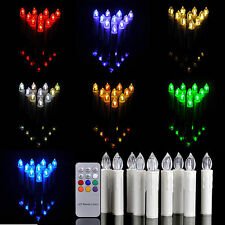 10 X Battery Operated Flickering LED Taper Candles Tea Light With Remote Control