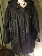 Maurice's black heavy leather ladies Car length parka with hood Size M NEW