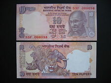 INDIA  10 Rupees 1996 Very low Serial number: 55F 0000xx Letter S  (P89e)  UNC