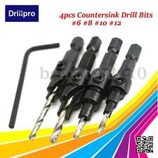 4x Countersink HSS Taper Quick Change#6 #8 #10 #12 Drill Tool Bits 1/4 Hex Shank