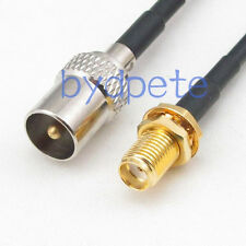 TV male plug to SMA female jack RF Antenna Coaxial RG174 black Cable 12inch 30cm