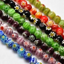 20pcs Round Millefiori Glass Beads Loose Bead Jewelry Making Mixed Color 8mm